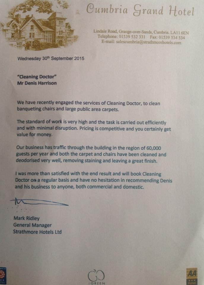 Cumbria Hotel Testimonial