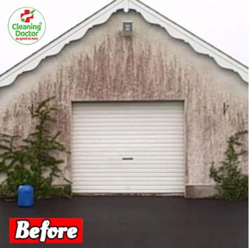 garage with red algae
